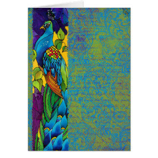 Glorious Peacock Art Painting Note Card
