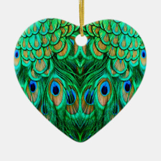 Glorious Peacock Feathers Ceramic Heart Decoration