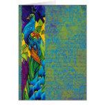 Glorious Peacock Silk Painting Greeting Card