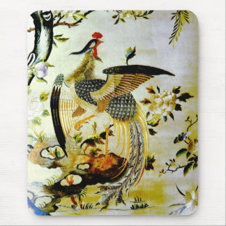 Glorious phoenix antique Chinese embroidery Mouse Mat