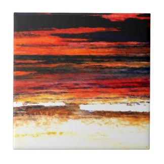 Glorious Sunset Colors Ocean Art Beach Painting Tile