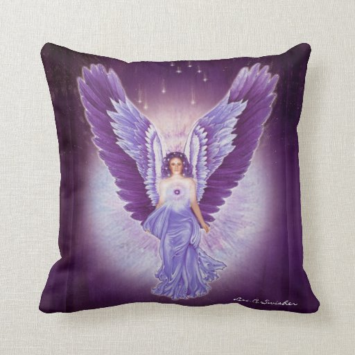 Glorious Violet Amethyst Angel Pillow