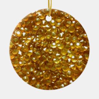 Gloriously Golden Crystals Ceramic Circle Ornamen Christmas Ornament