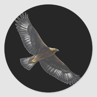 Glorius Golden Eagle Soaring Classic Round Sticker