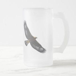 Glorius Golden Eagle Soaring Frosted Glass Beer Mug