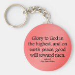 Glory to God in the highest Luke 2:14 Basic Round Button Key Ring