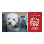 Glory to the Newborn King Red & White Photo Card