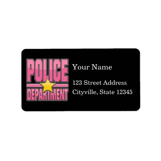 Gloss Pink Police Department Address Label