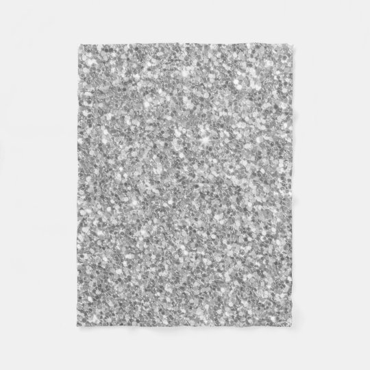 Gloss Sparkling Silver Grey Glitter Pattern Fleece Blanket