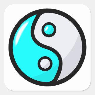 Glossy Aqua Yin Yang in Balance Square Sticker