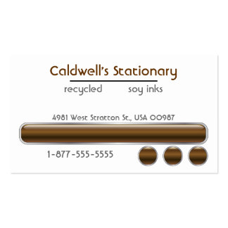 Glossy Bars and Buttons - Brown Business Cards