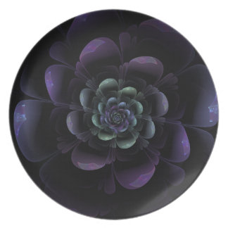 Glossy Black Grape Teal Floral Plate