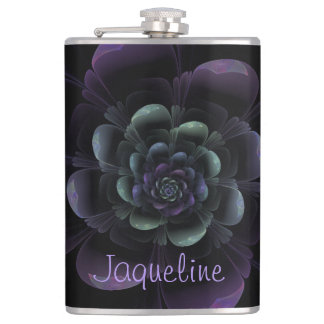 Glossy Black Purple Teal Floral Hip Flask
