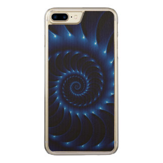 Glossy Blue Spiral Fractal iPhone 6 Plus Carved iPhone 8 Plus/7 Plus Case