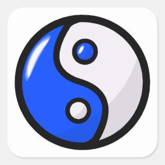 Glossy Blue Yin Yang in Balance Square Sticker