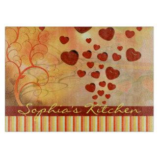 Glossy Candy Red Orange Heart Tree Flourish Yellow Cutting Board