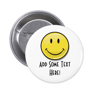 Glossy Classic Yellow Happy Face 6 Cm Round Badge
