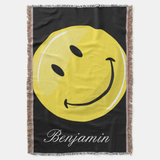 Glossy Classic Yellow Happy Face Throw Blanket