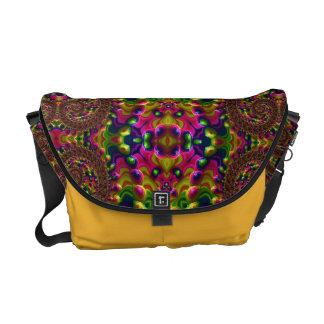 Glossy Fractal Florescent Rickshaw Messenger Bag