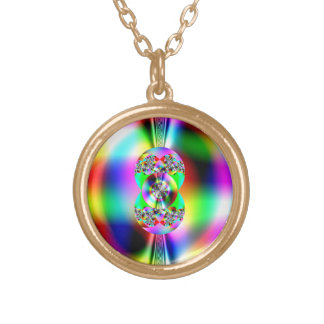 Glossy fractal round pendant necklace