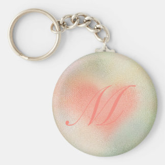 Glossy Glass pastel color heart Basic Round Button Key Ring