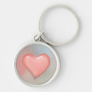 Glossy Glass pastel color heart Silver-Colored Round Key Ring
