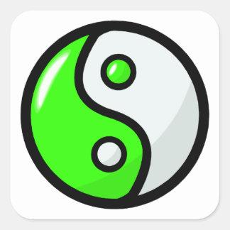 Glossy Green Yin Yang in Balance Square Sticker