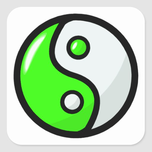 Glossy Green Yin Yang in Balance Square Stickers
