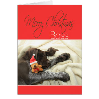 Glossy Grizzly Boss Merry Christmas Greeting Card