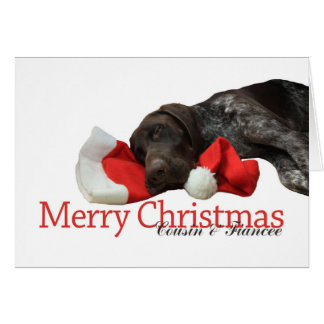 Glossy Grizzly Cousin & Fiancee Merry Christmas Greeting Card