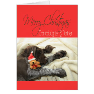 Glossy Grizzly Granddaughter & Partner Merry XMas Greeting Card