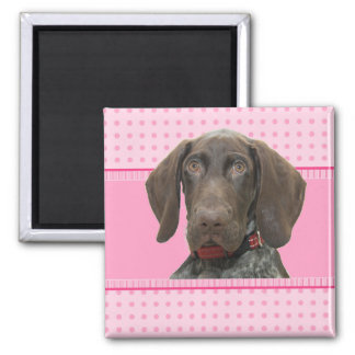 Glossy Grizzly in Pink Square Magnet