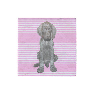 Glossy Grizzly in Pink Stone Magnet