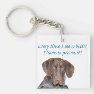 Glossy Grizzly pee on a BUSH Single-Sided Square Acrylic Key Ring