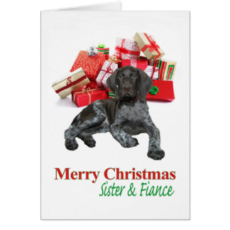 Glossy Grizzly Sister and Fiance Merry Christmas Greeting Card