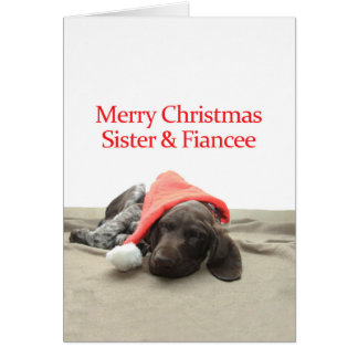 Glossy Grizzly Sister & Fiancee Merry Christmas Greeting Card