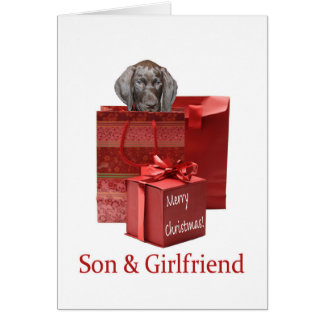 Glossy Grizzly Son & Girlfriend  Merry X-Mas Greeting Card