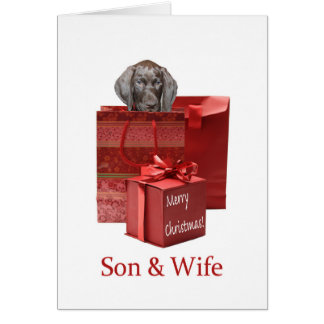 Glossy Grizzly Son & Wife Merry Christmas Greeting Card