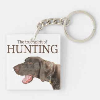 Glossy Grizzly true spirit of hunting Double-Sided Square Acrylic Key Ring