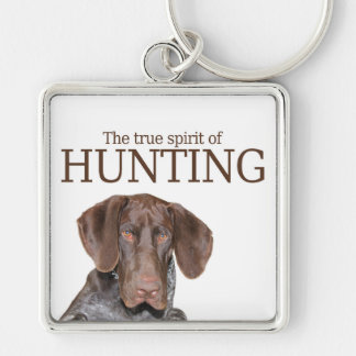 Glossy Grizzly true spirit of hunting Silver-Colored Square Key Ring