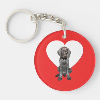 Glossy Grizzly Valentine's Puppy Love Double-Sided Round Acrylic Keychain