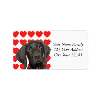 Glossy Grizzly Valentine's Puppy Love Label