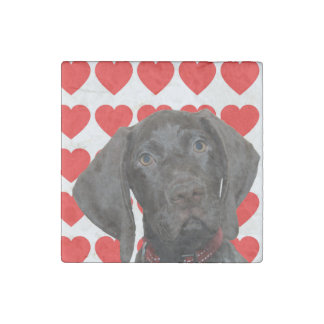 Glossy Grizzly Valentine's Puppy Love Stone Magnet