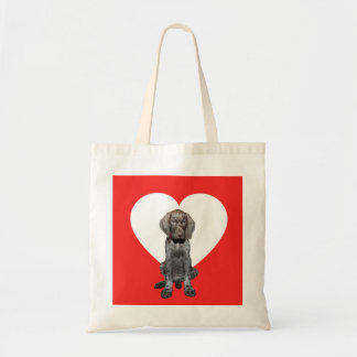 Glossy Grizzly Valentine's Puppy Love Tote Bag