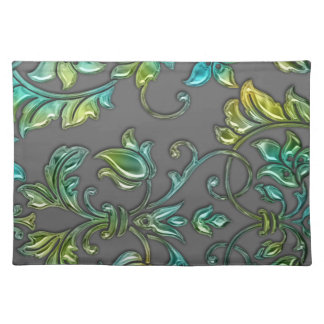 Glossy Look Damask on Any Color Placemat