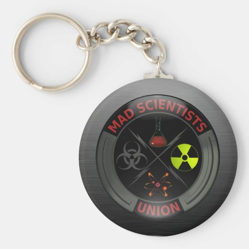Glossy Mad Scientist Union Button Key Chain