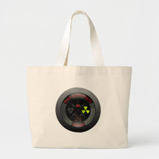 Glossy Mad Scientist Union Button Large Tote Bag