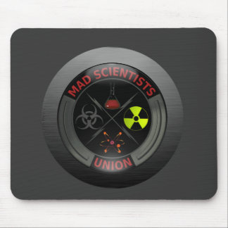Glossy Mad Scientist Union Button Mouse Mat