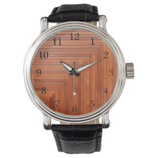 Glossy orange natural wooden planks watch