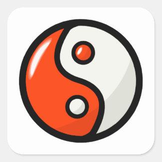 Glossy Orange Yin Yang in Balance Square Sticker